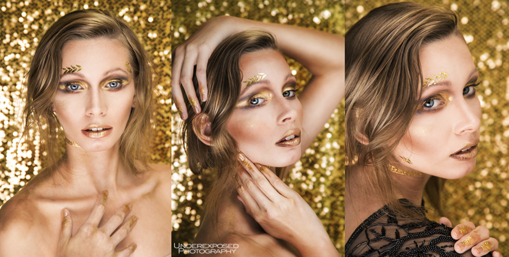 Underexposed Photography New Orleans photographer photo of woman with gold tattoos and gold lipstick and eyeshadow gold glam photoshoot gold sequin