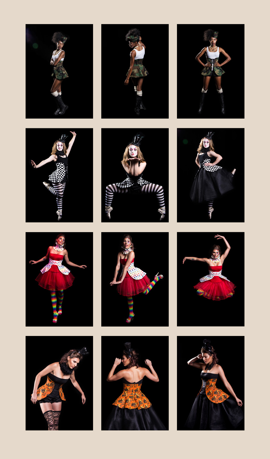 Collage of photos by Britt Smith Photography of Halloween Costumes custom made by Trapped in Time Designs in New Orleans Louisiana. Clothing modeled by Ashara Grimes, ballerina, Olivia Ernst and Amber Carollo